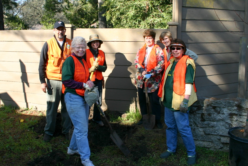 Committee Members Planting Along Middlefield Road
